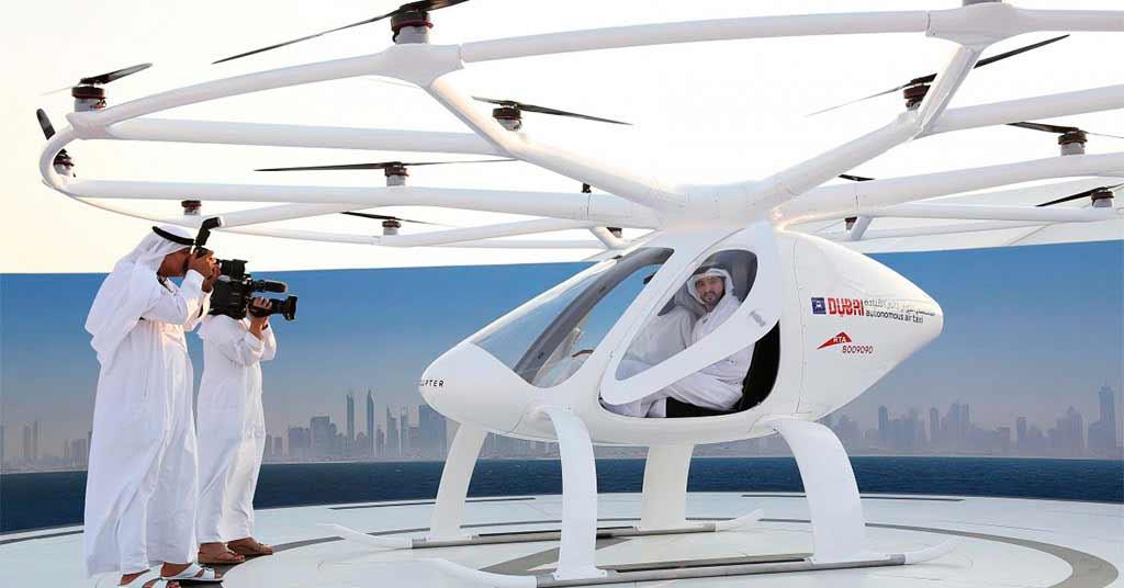 Летающее такси Volocopter 2x на выставке в Дубае